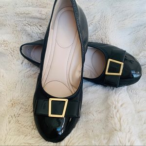 Cole Haan Wedge Heels Black w/ Bow and Gold Accent